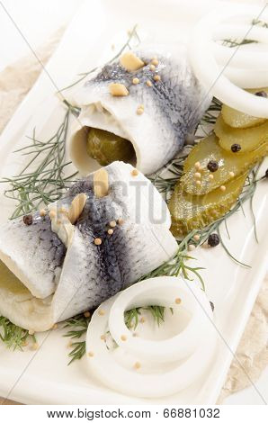 Pickled Herring With Gherkin And Onion