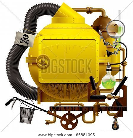 Complex fantastic machine with yellow round boiler, crimped pipe, chemical flask, sign, bucket, lens, equipment and armament