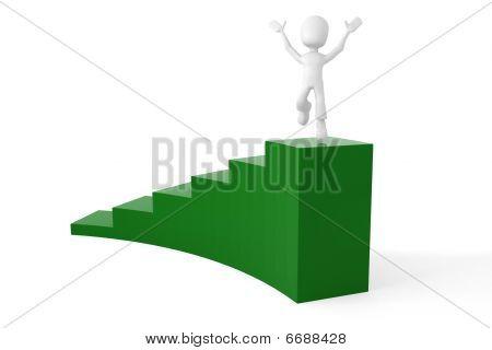 3d man climbing a stair