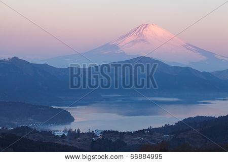 Mountain Fuji before sunrise at Ashi lake hakone in winter season