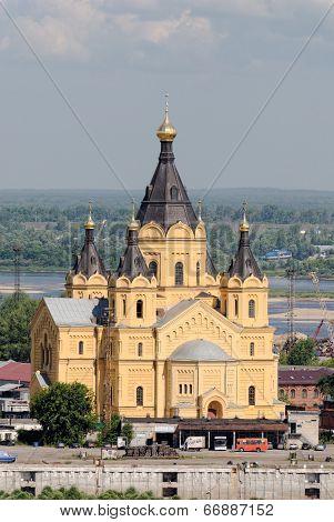 NIZHNY NOVGOROD, RUSSIA, JUNE 2014. Alexander Nevsky Cathedral in Nizhny Novgorod on the Shooter