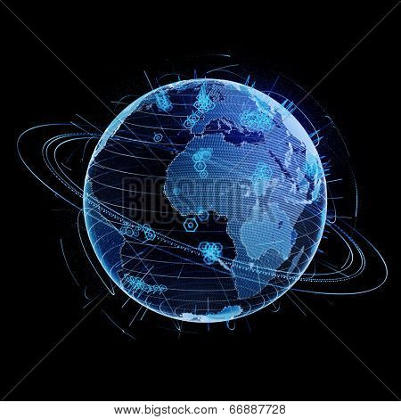 High technology globe, isolated on black background. Concept of web and communication