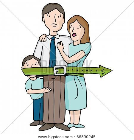 An image of a family tightening their budget belt.