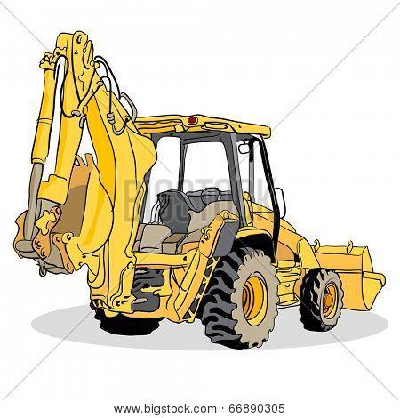 An image of a backhoe loader vehicle.