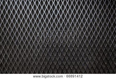 Metal grid background.
