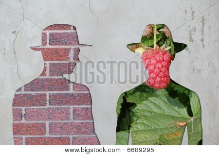 Brick Man Vs Flower Man.