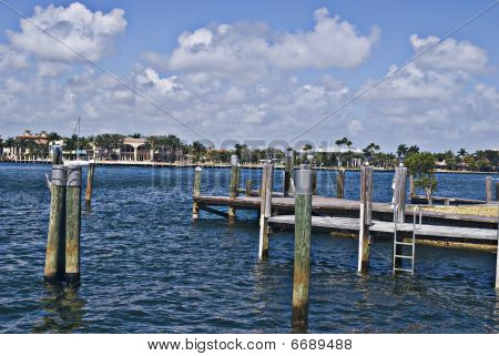 Wooden Pier in Florida Inter-Coastal Waterway