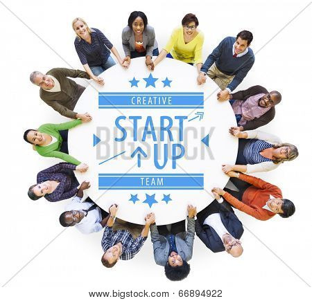 Aerial View of Multiethnic People with Startup Business Concept