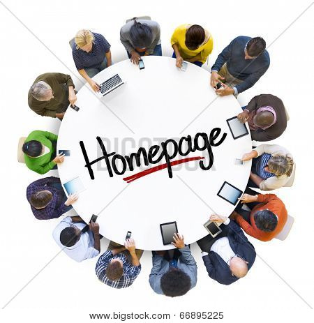 Multiethnic Group of People with Homepage
