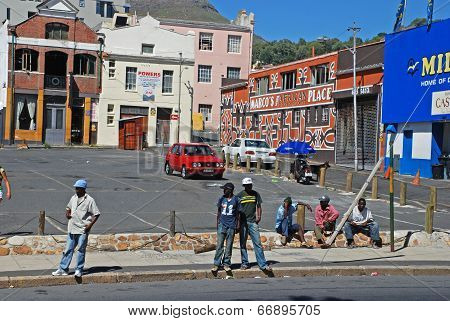 Men Wait The Any Job On Street In Cape Town, South Africa