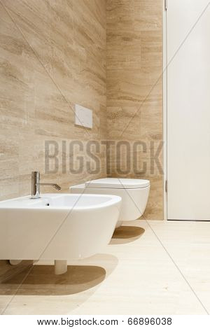 nice modern bathroom, bidet and wc