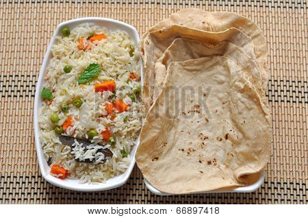 Indian rice and roti