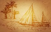 stock photo of tall ship  - Vector illustration of pirate ship - JPG