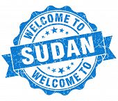 stock photo of sudan  - Welcome to Sudan blue grungy vintage isolated seal - JPG