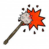 stock photo of mace  - cartoon bloody medieval mace - JPG