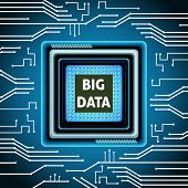 stock photo of microchips  - Big data microchip computer electronics cpu background vector illustration - JPG