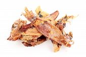 picture of squid  - close up of dried squid isolated on white background - JPG