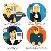 picture of law order  - Justice Law and order Legal Services Symbol Crime Punishment  Responsibility Set Isolated Background Modern Flat Design Vector Illustration - JPG