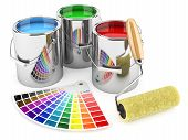 stock photo of paint palette  - Group of can paints roller brush and palette of colors - JPG
