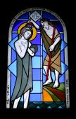 picture of the lost sheep  - Stained glass window in the monastery of benedictines  19th century - JPG