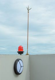 picture of lightning-rod  - Lightning Rod On The Building Rooftop Wall - JPG