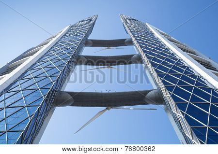Bahrain World Trade Center Facade. Manama, Bahrain