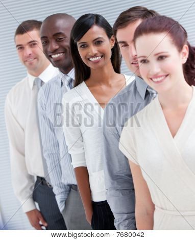 Cheerful Multi-ethnic Business Partners Standing In A Line