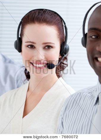 Self-assured Customer Service Representatives Standing In A Line