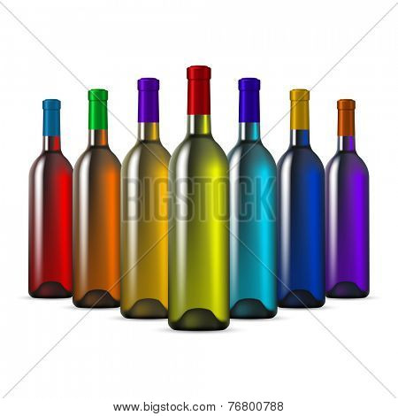 Rainbow Color Glass Wine Bottles