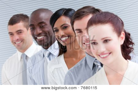 Multi-ethnic Young Business Team Standing In A Row