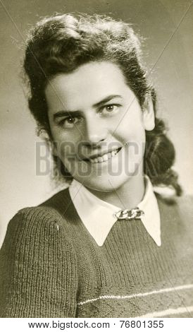 KRAKOW ,POLAND, CIRCA 1930: Vintage photo of woman