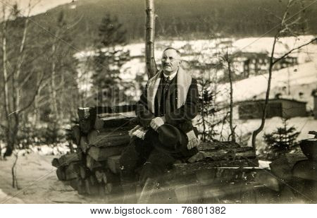 GERMANY, CIRCA 1930: Vintage photo of man outdoor