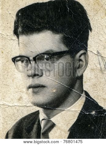 POLAND, CIRCA 1930: Vintage photo of man in glasses