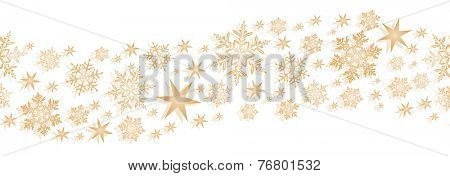 Monochrome wavy border element with stars and snowflakes to decorate your winter or Christmas design. Will tile seamlessly.