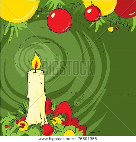 Christmas Still Life With A Candle - Vector Illustration