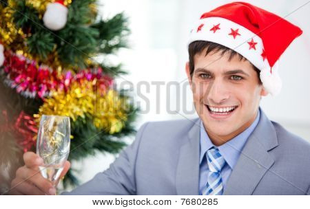 Caucasian Businessman Celebrating Christmas