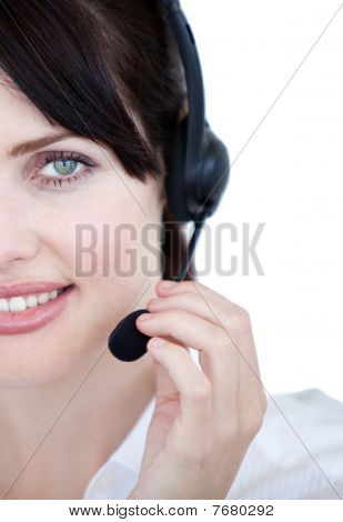 Close-up Of Sales Representative Woman With An Headset