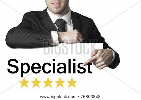 Businessman Pointing On Sign Specialist Isolated