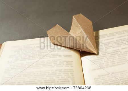 Origami airplane on old book, close up