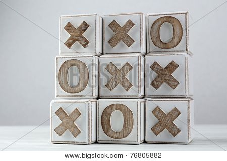 Game of Tic Tac Toe on table