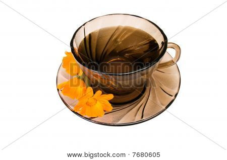 Cup Of  Fragrant Tea On A White.