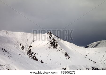 Off-piste Slope And Gray Sky In Wind Day