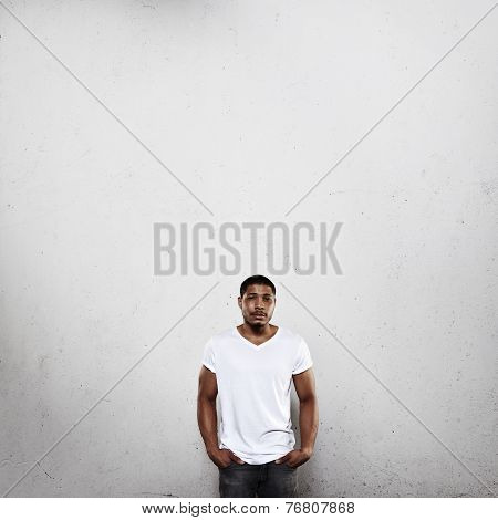 Young Man Wearing Blank T-shirt