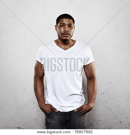 Young Man Wearing White Blank T-shirt