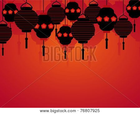 Chinese New Year hanging lanterns background