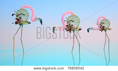 Flamingo Made Of Birdcages