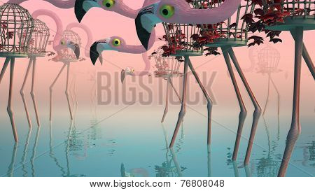 Flamingo In Fog