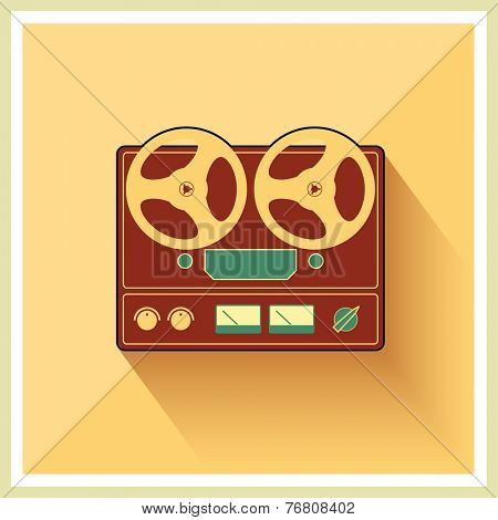 Retro open reel tape deck stereo recorder player vector