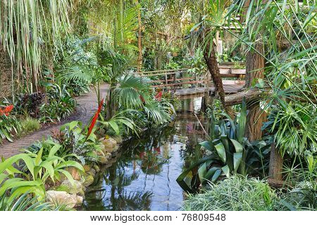 Botanical Garden With Hiking Trail And Foot Bridge