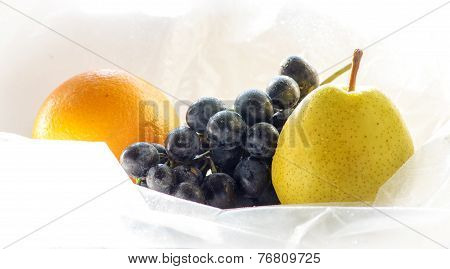 Washed Fruit, Orange, Grapes, Pear
